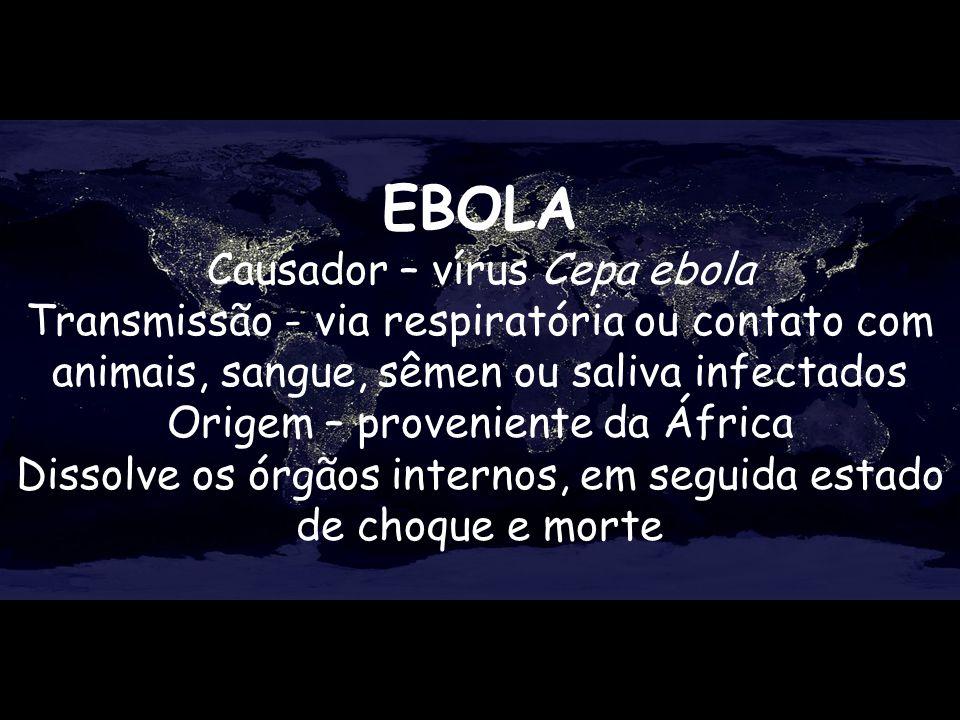 EBOLA Causador – vírus Cepa ebola Transmissão - via respiratória ou contato com animais, sangue, sêmen ou saliva infectados Origem – proveniente da Áf