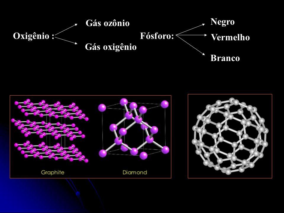 Negro Gás ozônio Oxigênio :Fósforo: Vermelho Branco Gás oxigênio
