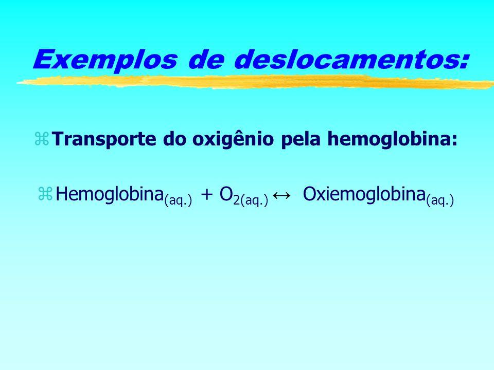 zTransporte do oxigênio pela hemoglobina: Hemoglobina (aq.) + O 2(aq.) Oxiemoglobina (aq.) Exemplos de deslocamentos: