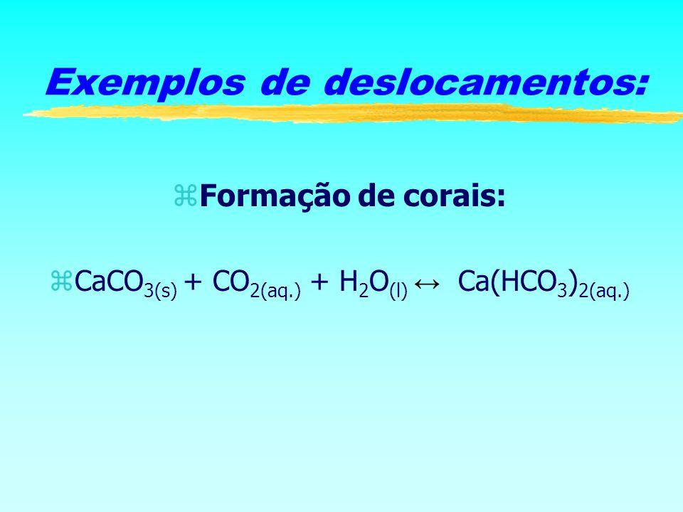 zFormação de corais: CaCO 3(s) + CO 2(aq.) + H 2 O (l) Ca(HCO 3 ) 2(aq.) Exemplos de deslocamentos: