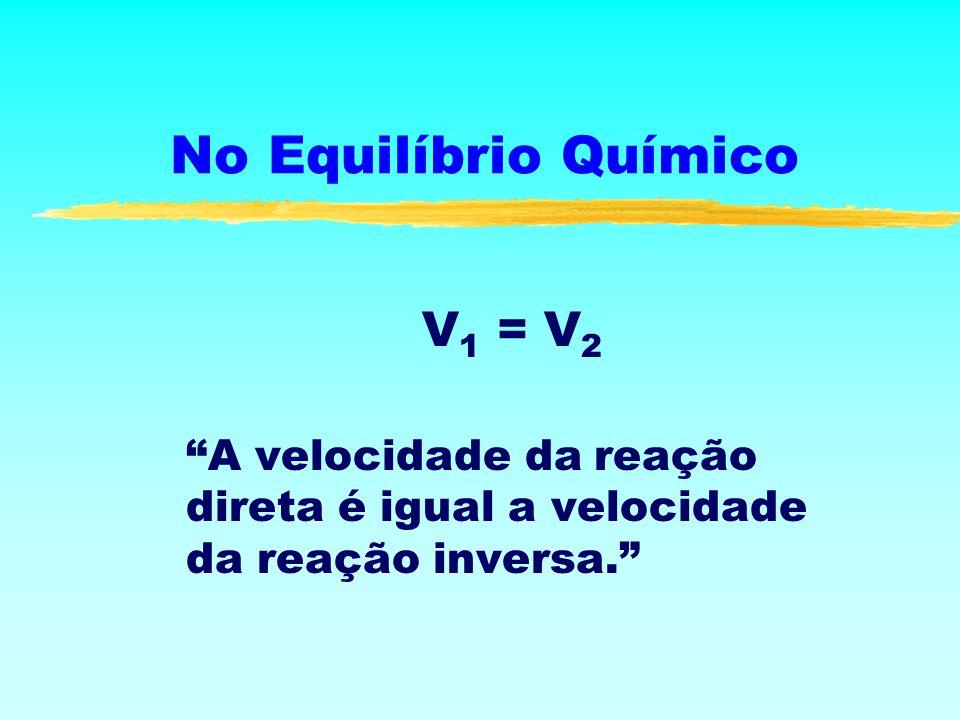 No Equilíbrio Químico V 1 = V 2 A velocidade da reação direta é igual a velocidade da reação inversa.