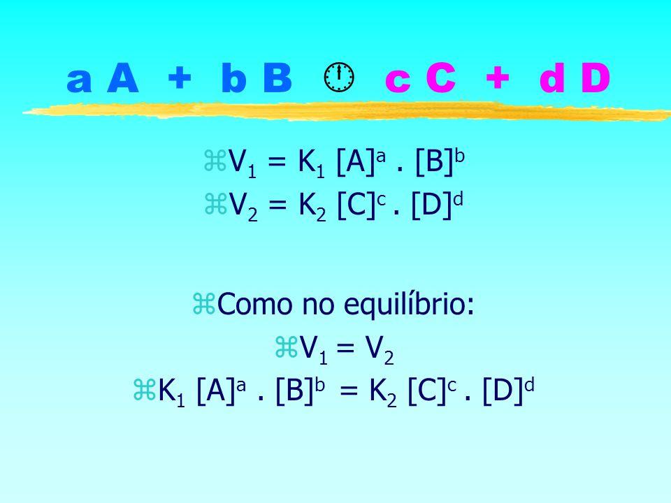 a A + b B c C + d D zV 1 = K 1 [A] a. [B] b zV 2 = K 2 [C] c. [D] d zComo no equilíbrio: zV 1 = V 2 zK 1 [A] a. [B] b = K 2 [C] c. [D] d