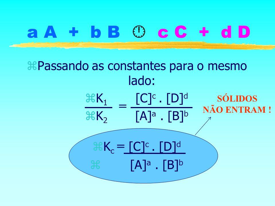 a A + b B c C + d D zPassando as constantes para o mesmo lado: zK 1 [C] c. [D] d zK 2 [A] a. [B] b K c = [C] c. [D] d z [A] a. [B] b = SÓLIDOS NÃO ENT