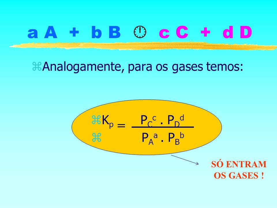 a A + b B c C + d D zAnalogamente, para os gases temos: zK p P C c. P D d z P A a. P B b = SÓ ENTRAM OS GASES !