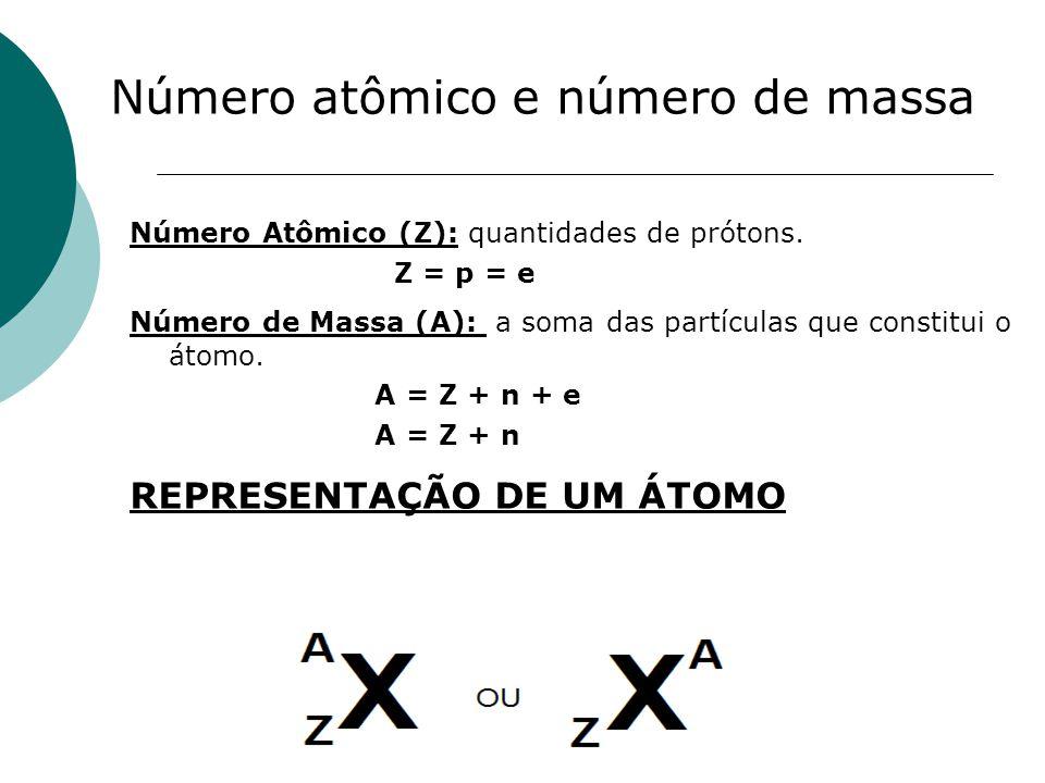 Número atômico e número de massa Número Atômico (Z): quantidades de prótons. Z = p = e Número de Massa (A): a soma das partículas que constitui o átom