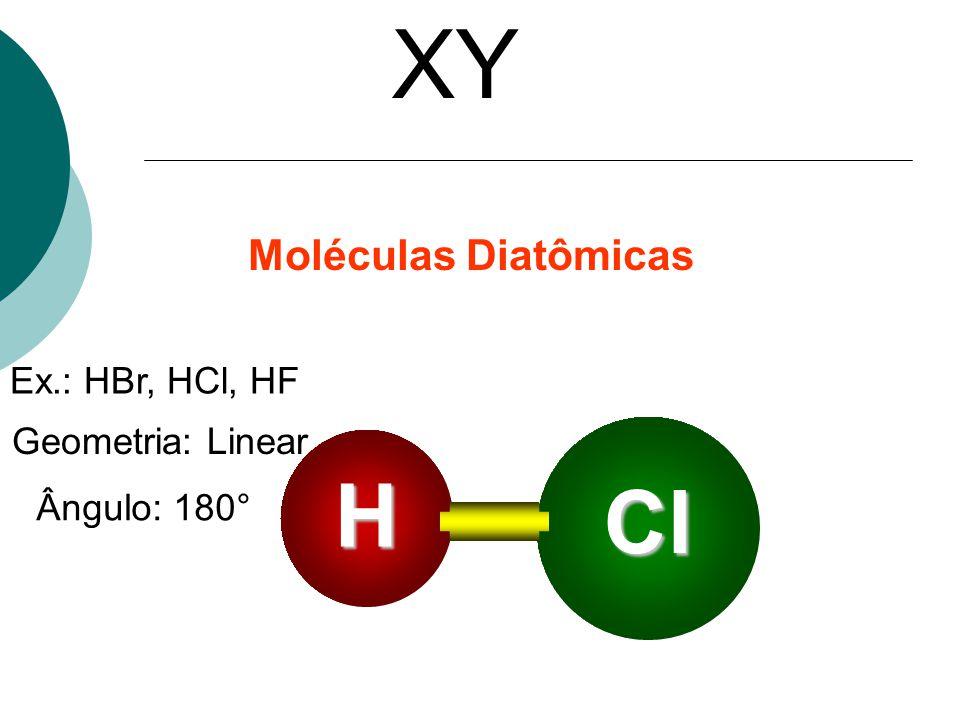 XY Ex.: HBr, HCl, HF Geometria: Linear Ângulo: 180° H Cl Moléculas Diatômicas