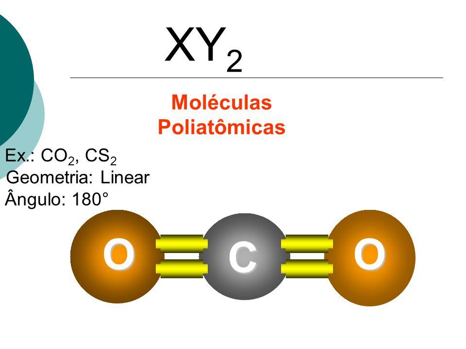 XY 2 Ex.: CO 2, CS 2 Geometria: Linear Ângulo: 180° C OO Moléculas Poliatômicas