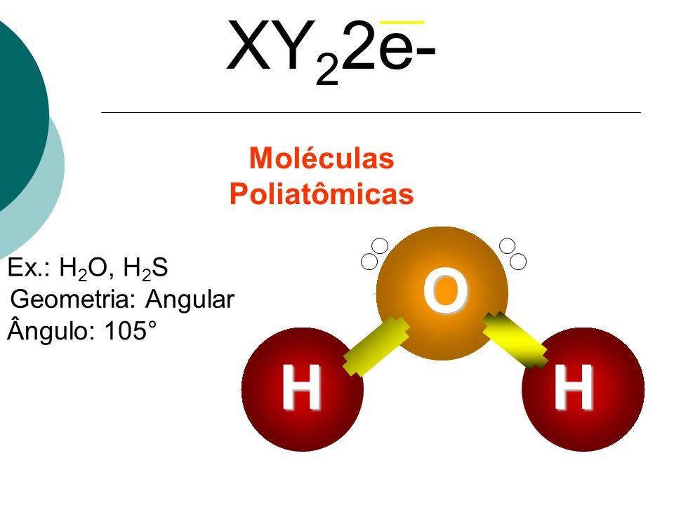 Ex.: H 2 O, H 2 S Geometria: Angular Ângulo: 105° XY 2 2e- Moléculas Poliatômicas O HH