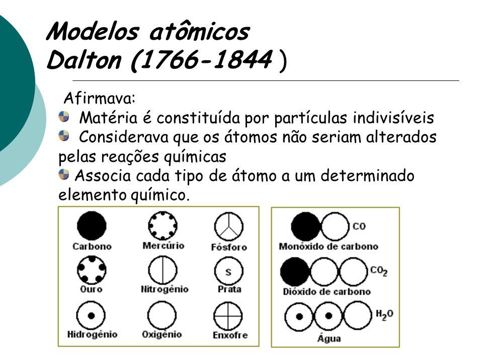 Modelos atômicos Dalton (1766-1844 ) Afirmava: Matéria é constituída por partículas indivisíveis Considerava que os átomos não seriam alterados pelas