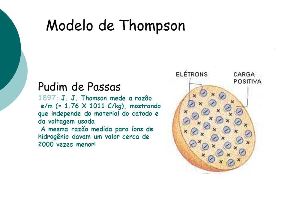 Modelo de Thompson Pudim de Passas 1897 : J. J. Thomson mede a razão e/m (= 1.76 X 1011 C/kg), mostrando que independe do material do catodo e da volt