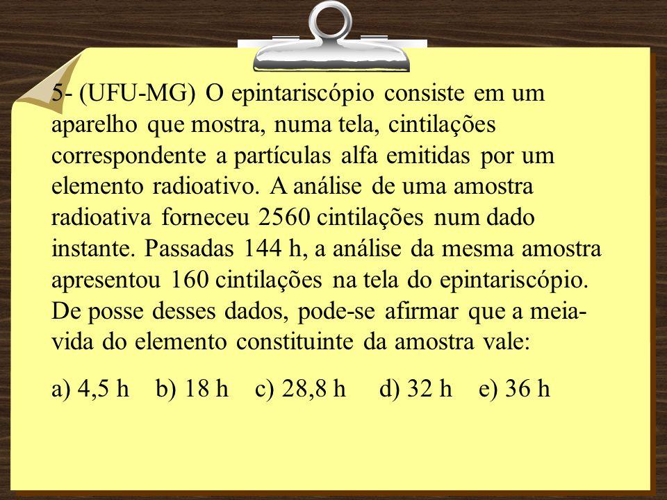 5- (UFU-MG) O epintariscópio consiste em um aparelho que mostra, numa tela, cintilações correspondente a partículas alfa emitidas por um elemento radioativo.