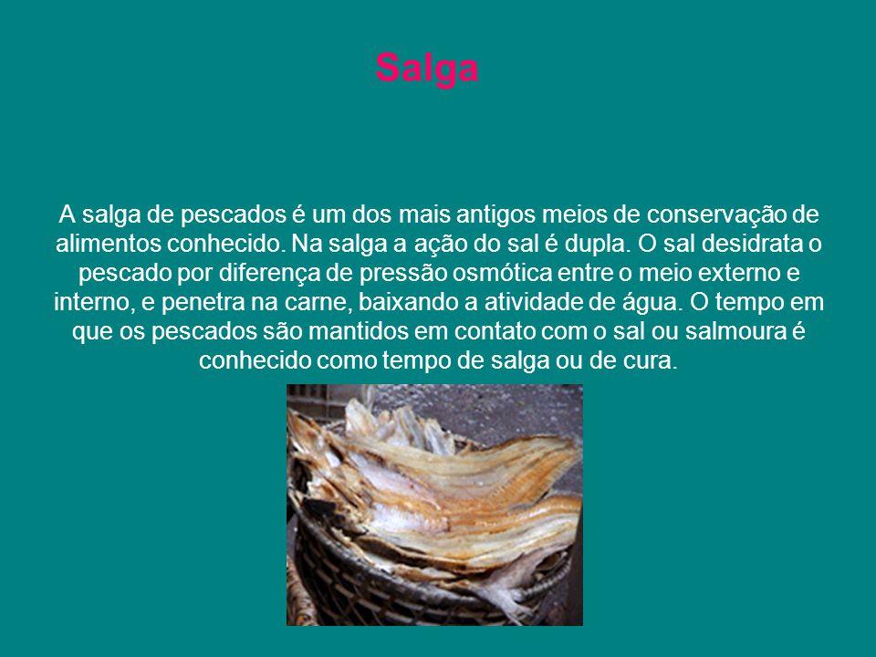 A salga de pescados é um dos mais antigos meios de conservação de alimentos conhecido. Na salga a ação do sal é dupla. O sal desidrata o pescado por d
