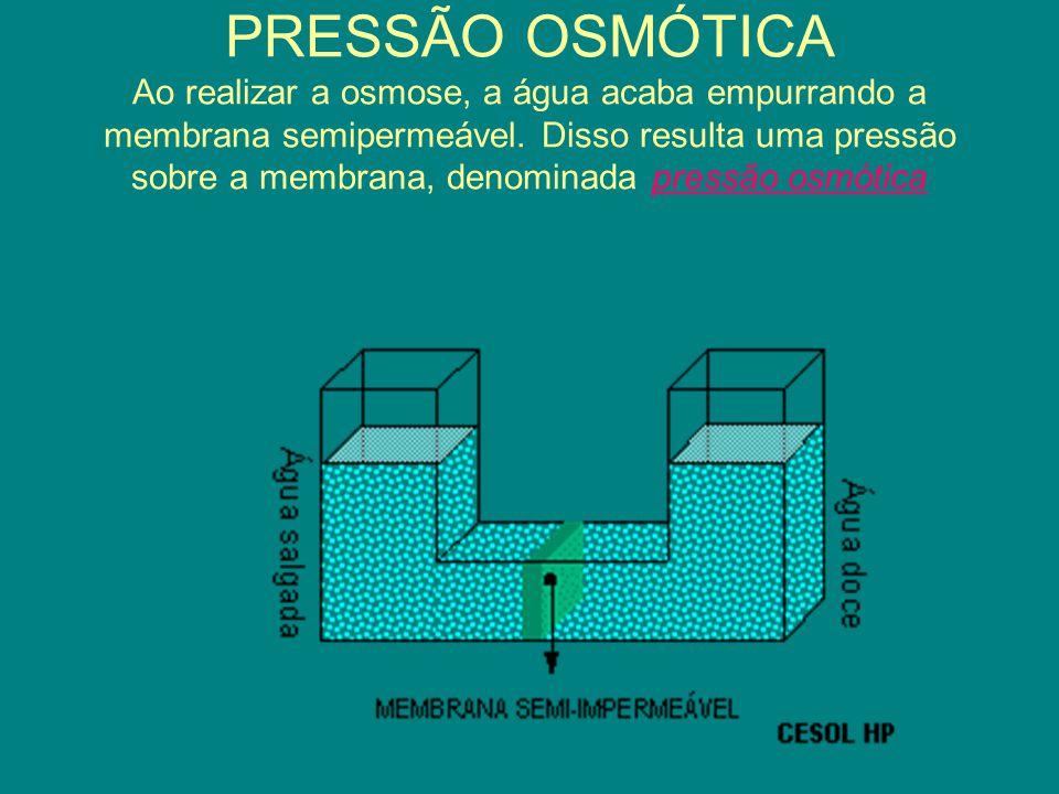 PRESSÃO OSMÓTICA Ao realizar a osmose, a água acaba empurrando a membrana semipermeável. Disso resulta uma pressão sobre a membrana, denominada pressã