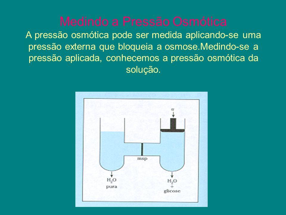 Medindo a Pressão Osmótica A pressão osmótica pode ser medida aplicando-se uma pressão externa que bloqueia a osmose.Medindo-se a pressão aplicada, co