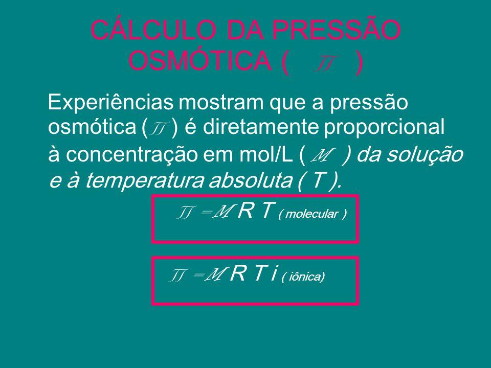 CÁLCULO DA PRESSÃO OSMÓTICA ( ) Experiências mostram que a pressão osmótica ( ) é diretamente proporcional à concentração em mol/L ( M ) da solução e