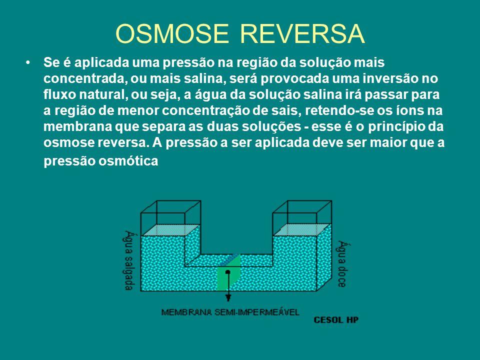 OSMOSE REVERSA Se é aplicada uma pressão na região da solução mais concentrada, ou mais salina, será provocada uma inversão no fluxo natural, ou seja,