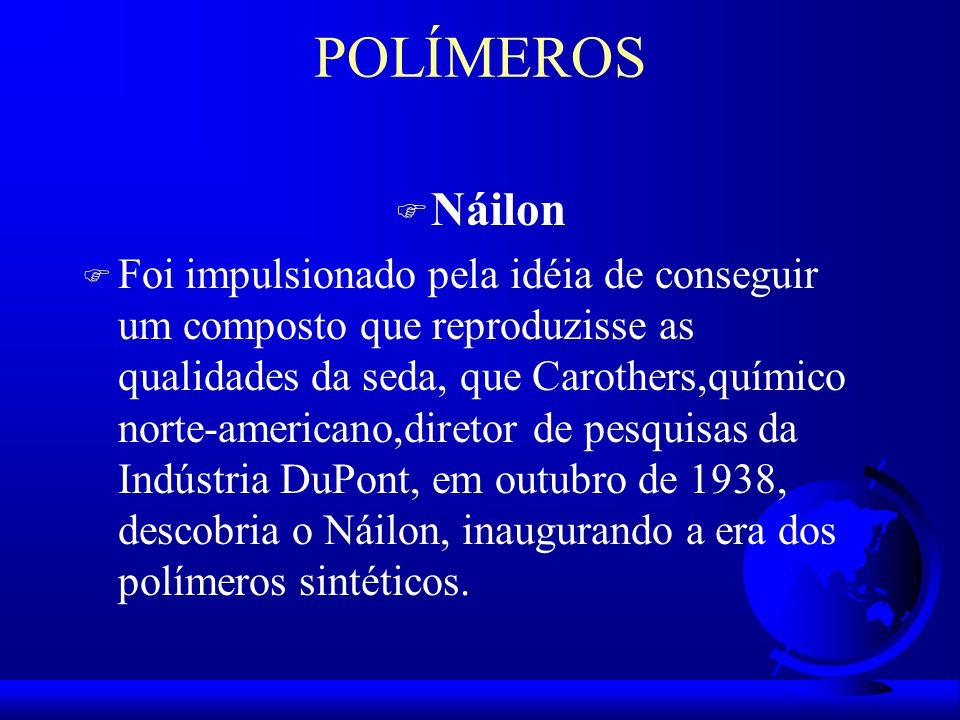POLÍMEROS F Náilon F Foi impulsionado pela idéia de conseguir um composto que reproduzisse as qualidades da seda, que Carothers,químico norte-americano,diretor de pesquisas da Indústria DuPont, em outubro de 1938, descobria o Náilon, inaugurando a era dos polímeros sintéticos.