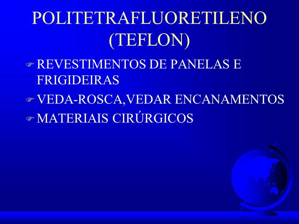POLITETRAFLUORETILENO (TEFLON) F REVESTIMENTOS DE PANELAS E FRIGIDEIRAS F VEDA-ROSCA,VEDAR ENCANAMENTOS F MATERIAIS CIRÚRGICOS
