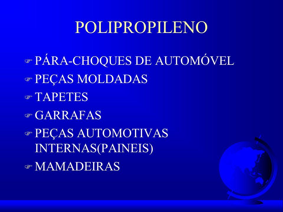 POLIPROPILENO F PÁRA-CHOQUES DE AUTOMÓVEL F PEÇAS MOLDADAS F TAPETES F GARRAFAS F PEÇAS AUTOMOTIVAS INTERNAS(PAINEIS) F MAMADEIRAS
