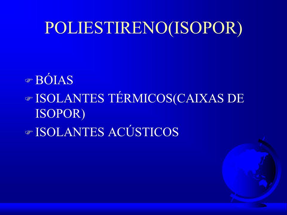 POLIESTIRENO(ISOPOR) F BÓIAS F ISOLANTES TÉRMICOS(CAIXAS DE ISOPOR) F ISOLANTES ACÚSTICOS