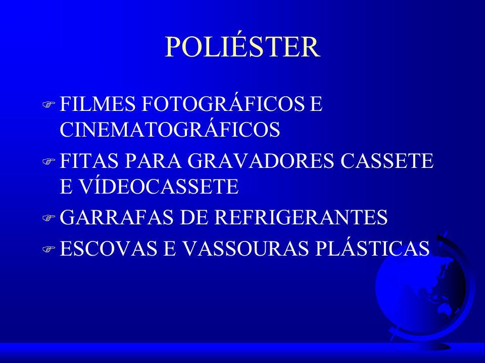 POLIÉSTER F FILMES FOTOGRÁFICOS E CINEMATOGRÁFICOS F FITAS PARA GRAVADORES CASSETE E VÍDEOCASSETE F GARRAFAS DE REFRIGERANTES F ESCOVAS E VASSOURAS PLÁSTICAS
