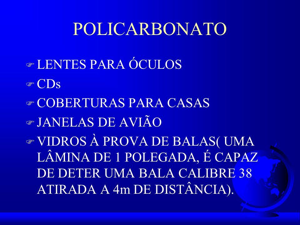POLICARBONATO F LENTES PARA ÓCULOS F CDs F COBERTURAS PARA CASAS F JANELAS DE AVIÃO F VIDROS À PROVA DE BALAS( UMA LÂMINA DE 1 POLEGADA, É CAPAZ DE DETER UMA BALA CALIBRE 38 ATIRADA A 4m DE DISTÂNCIA).