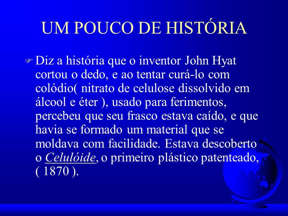 UM POUCO DE HISTÓRIA F Diz a história que o inventor John Hyat cortou o dedo, e ao tentar curá-lo com colódio( nitrato de celulose dissolvido em álcool e éter ), usado para ferimentos, percebeu que seu frasco estava caído, e que havia se formado um material que se moldava com facilidade.