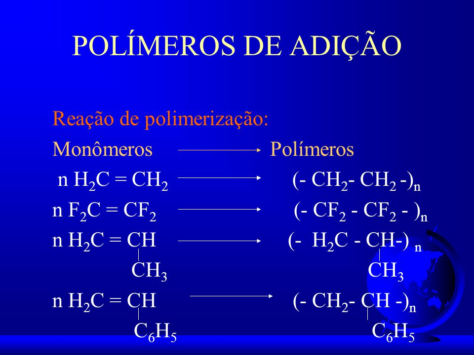 POLÍMEROS DE ADIÇÃO Reação de polimerização: Monômeros Polímeros n H 2 C = CH 2 (- CH 2 - CH 2 -) n n F 2 C = CF 2 (- CF 2 - CF 2 - ) n n H 2 C = CH (