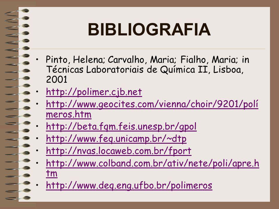 BIBLIOGRAFIA Pinto, Helena; Carvalho, Maria; Fialho, Maria; in Técnicas Laboratoriais de Química II, Lisboa, 2001 http://polimer.cjb.net http://www.geocites.com/vienna/choir/9201/polí meros.htmhttp://www.geocites.com/vienna/choir/9201/polí meros.htm http://beta.fqm.feis.unesp.br/gpol http://www.feq.unicamp.br/~dtp http://nvas.locaweb.com.br/fport http://www.colband.com.br/ativ/nete/poli/apre.h tmhttp://www.colband.com.br/ativ/nete/poli/apre.h tm http://www.deq.eng.ufbo.br/polimeroshttp://www.deq.eng.ufbo.br/polimeros