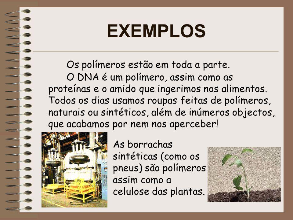 EXEMPLOS Os polímeros são essenciais em toda a actividade humana.