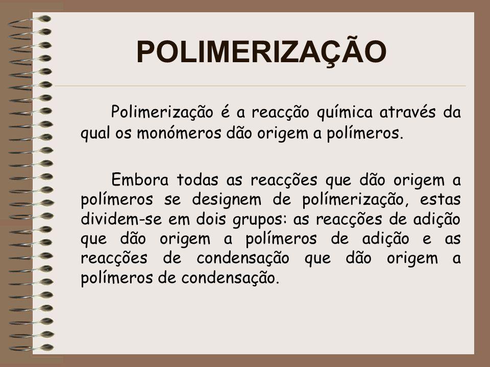 POLIMERIZAÇÃO Polimerização é a reacção química através da qual os monómeros dão origem a polímeros.