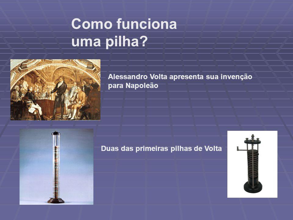 Como funciona uma pilha? Duas das primeiras pilhas de Volta Alessandro Volta apresenta sua invenção para Napoleão