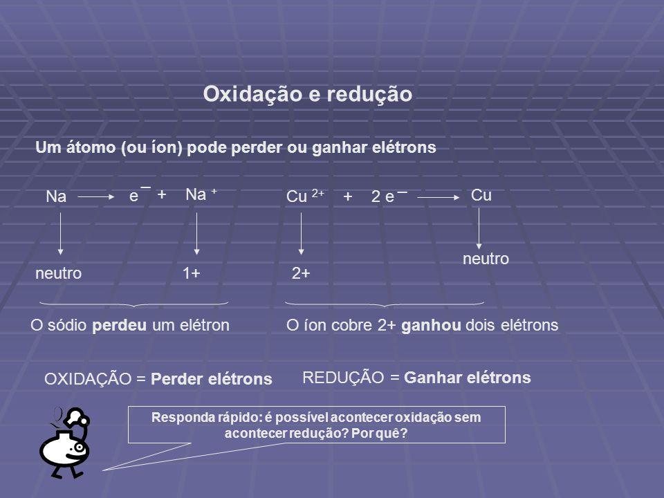 Oxidação e redução Um átomo (ou íon) pode perder ou ganhar elétrons e _ Na + Na + Cu 2+ + 2 e _ Cu neutro1+2+ neutro O sódio perdeu um elétronO íon cobre 2+ ganhou dois elétrons OXIDAÇÃO = Perder elétrons REDUÇÃO = Ganhar elétrons Responda rápido: é possível acontecer oxidação sem acontecer redução.