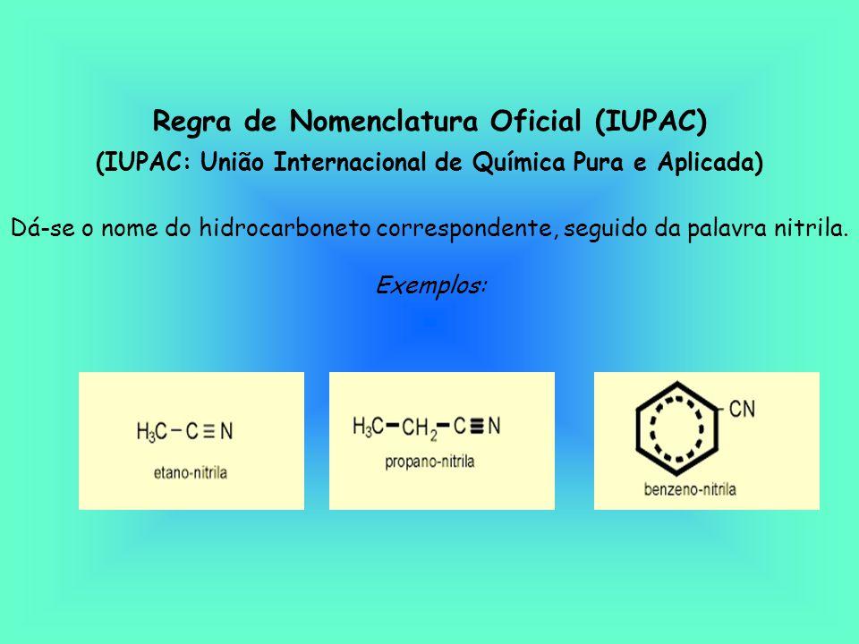 Regra de Nomenclatura Oficial (IUPAC) (IUPAC: União Internacional de Química Pura e Aplicada) Dá-se o nome do hidrocarboneto correspondente, seguido da palavra nitrila.