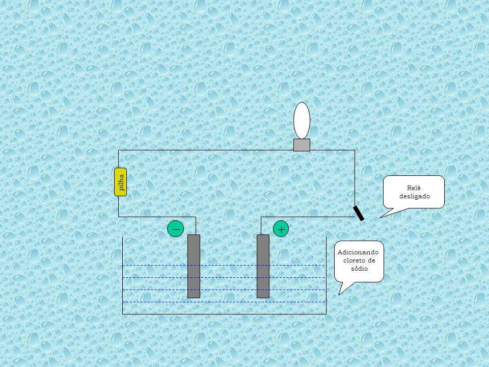 Água destilada pilha Relê ligafdo O CIRCUITO CONTINUA ABERTO