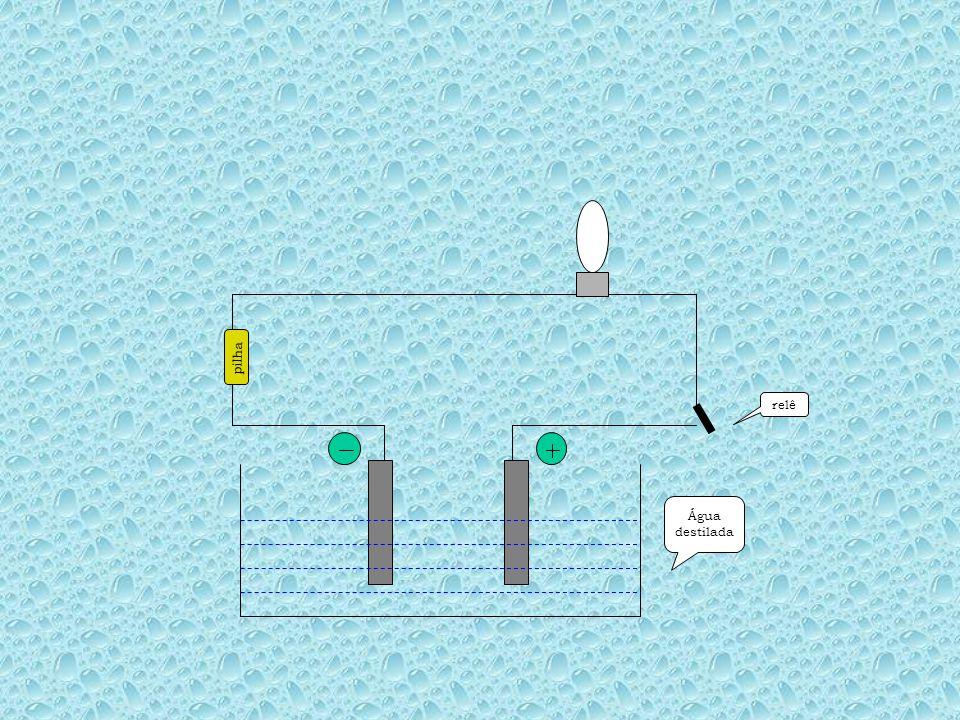 Água destilada pilha relê