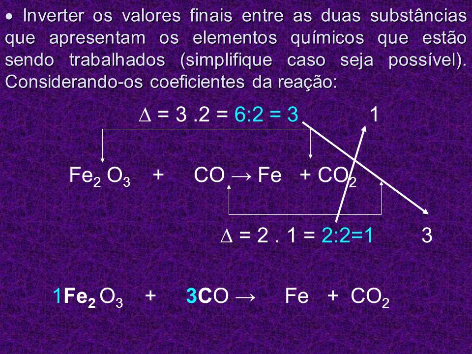 Inverter os valores finais entre as duas substâncias que apresentam os elementos químicos que estão sendo trabalhados (simplifique caso seja possível)
