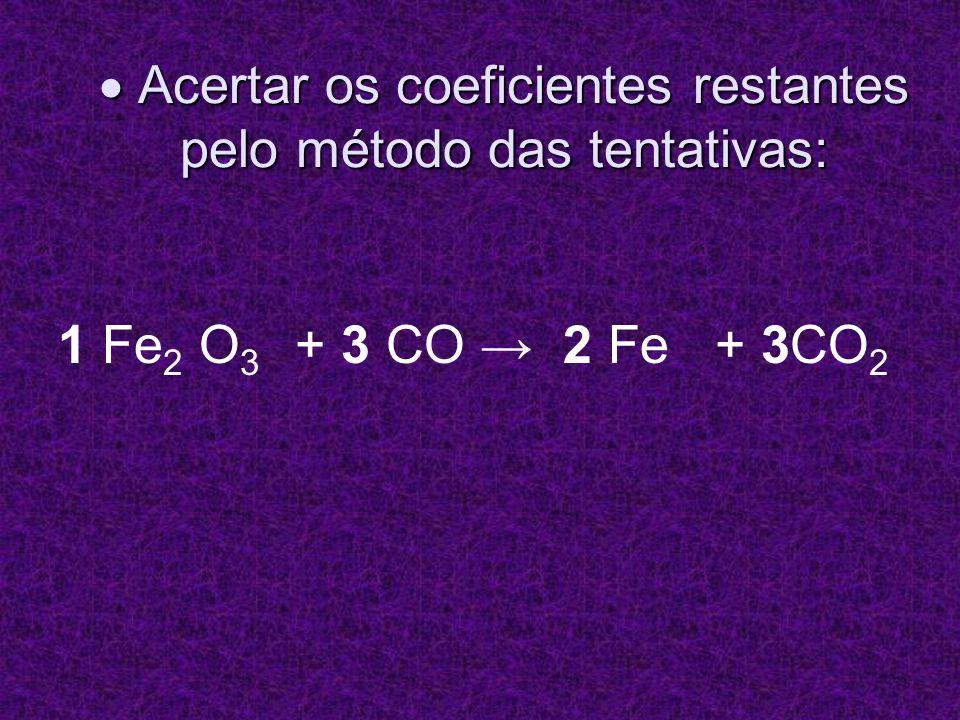 Acertar os coeficientes restantes pelo método das tentativas: Acertar os coeficientes restantes pelo método das tentativas: 1 Fe 2 O 3 + 3 CO 2 Fe + 3