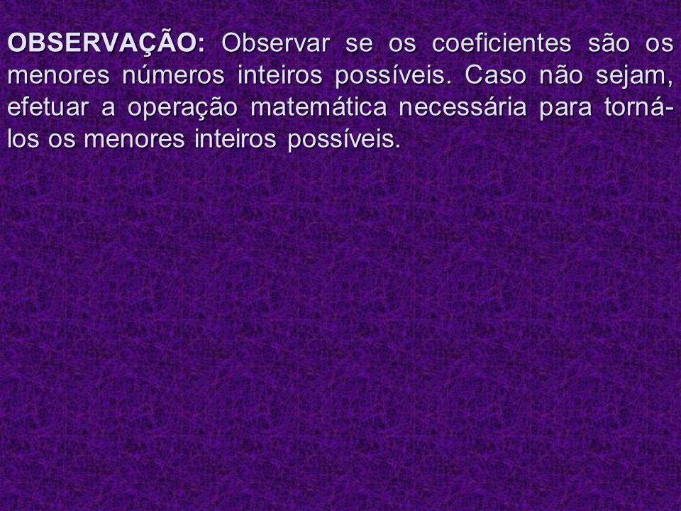 OBSERVAÇÃO: Observar se os coeficientes são os menores números inteiros possíveis. Caso não sejam, efetuar a operação matemática necessária para torná