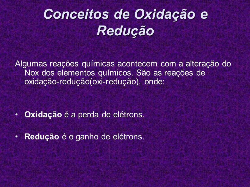 Conceitos de Oxidação e Redução Algumas reações químicas acontecem com a alteração do Nox dos elementos químicos. São as reações de oxidação-redução(o