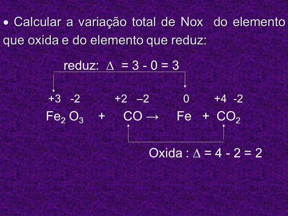 Calcular a variação total de Nox do elemento que oxida e do elemento que reduz: Calcular a variação total de Nox do elemento que oxida e do elemento q