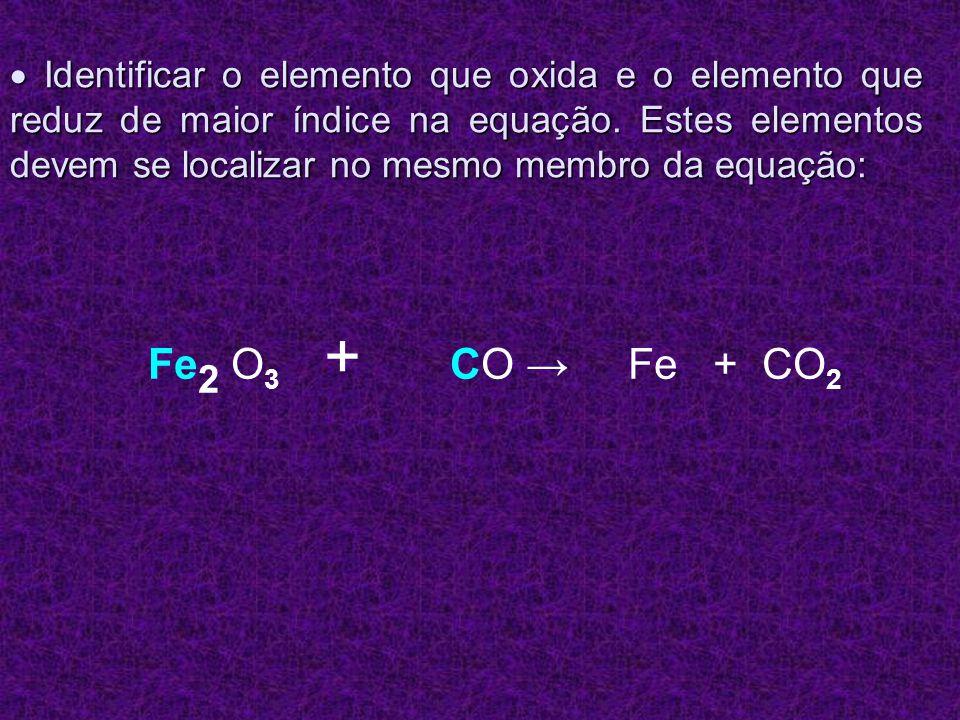 Identificar o elemento que oxida e o elemento que reduz de maior índice na equação. Estes elementos devem se localizar no mesmo membro da equação: Ide