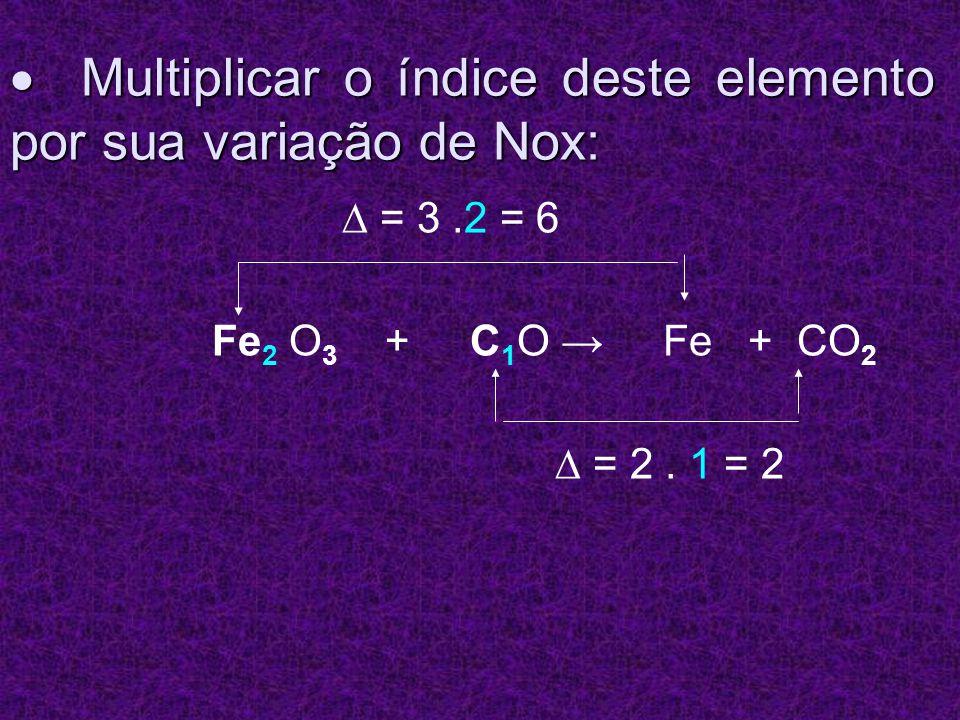 Multiplicar o índice deste elemento por sua variação de Nox: Multiplicar o índice deste elemento por sua variação de Nox: = 3.2 = 6 Fe 2 O 3 + C 1 O F