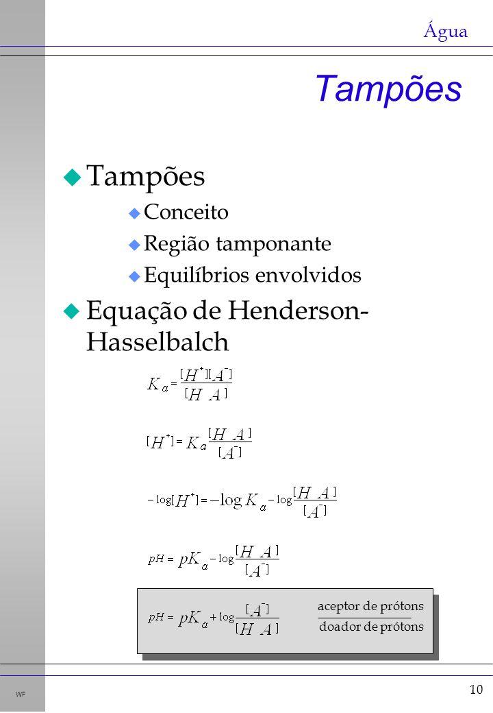 10 WF u Tampões u Conceito u Região tamponante u Equilíbrios envolvidos u Equação de Henderson- Hasselbalch Tampões aceptor de prótons doador de próto