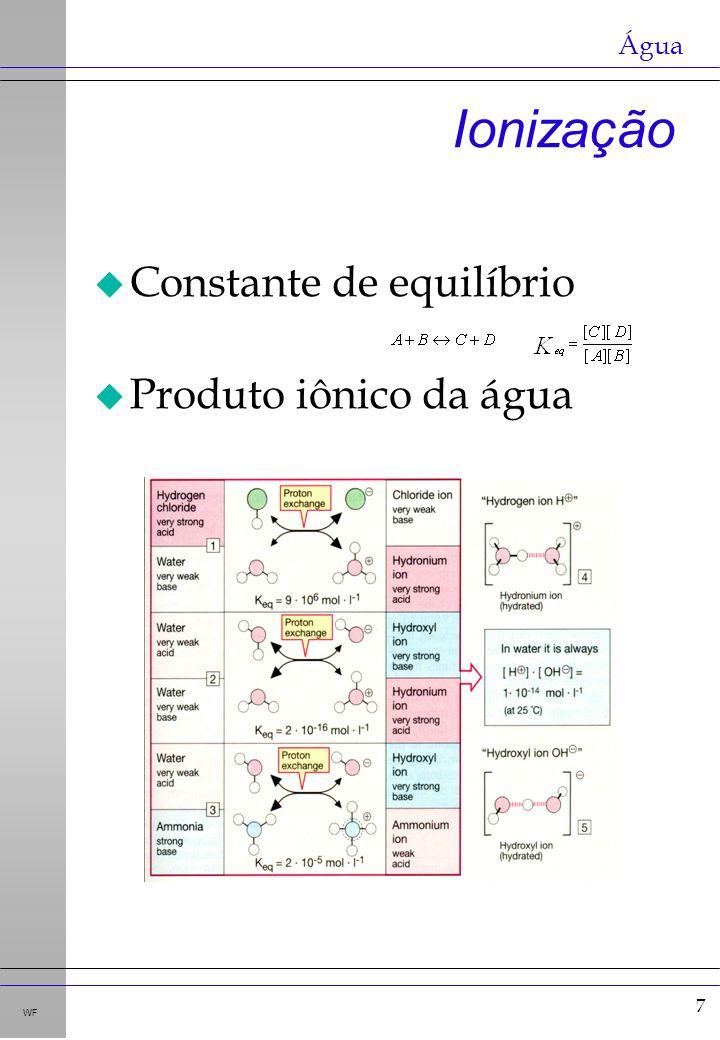 7 WF Ionização u Constante de equilíbrio u Produto iônico da água Água