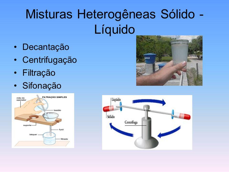 Misturas Heterogêneas Sólido - Líquido Decantação Centrifugação Filtração Sifonação