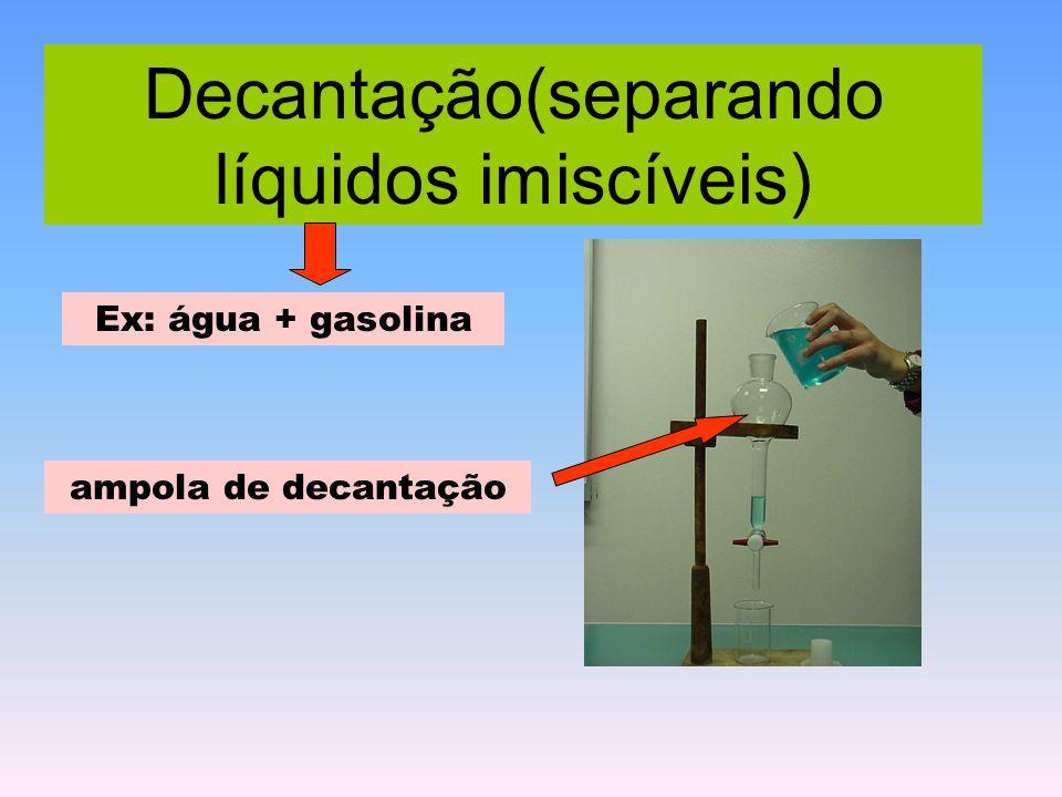 Decantação(separando líquidos imiscíveis) ampola de decantação Ex: água + gasolina