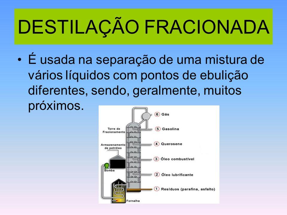 DESTILAÇÃO FRACIONADA É usada na separação de uma mistura de vários líquidos com pontos de ebulição diferentes, sendo, geralmente, muitos próximos.