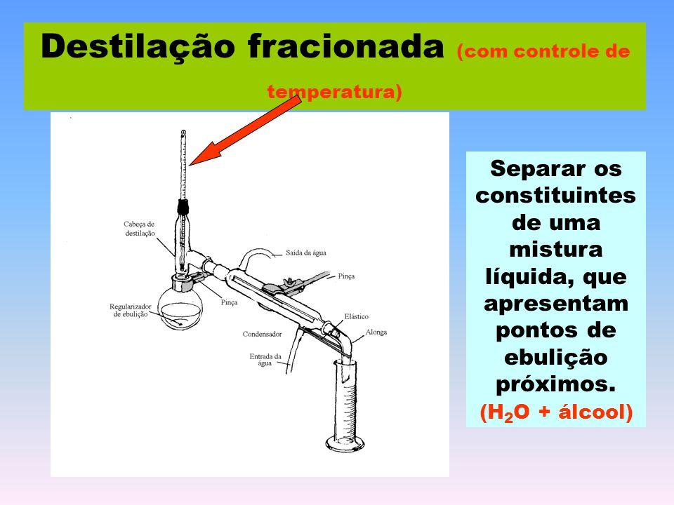 Destilação fracionada (com controle de temperatura) Separar os constituintes de uma mistura líquida, que apresentam pontos de ebulição próximos. (H 2