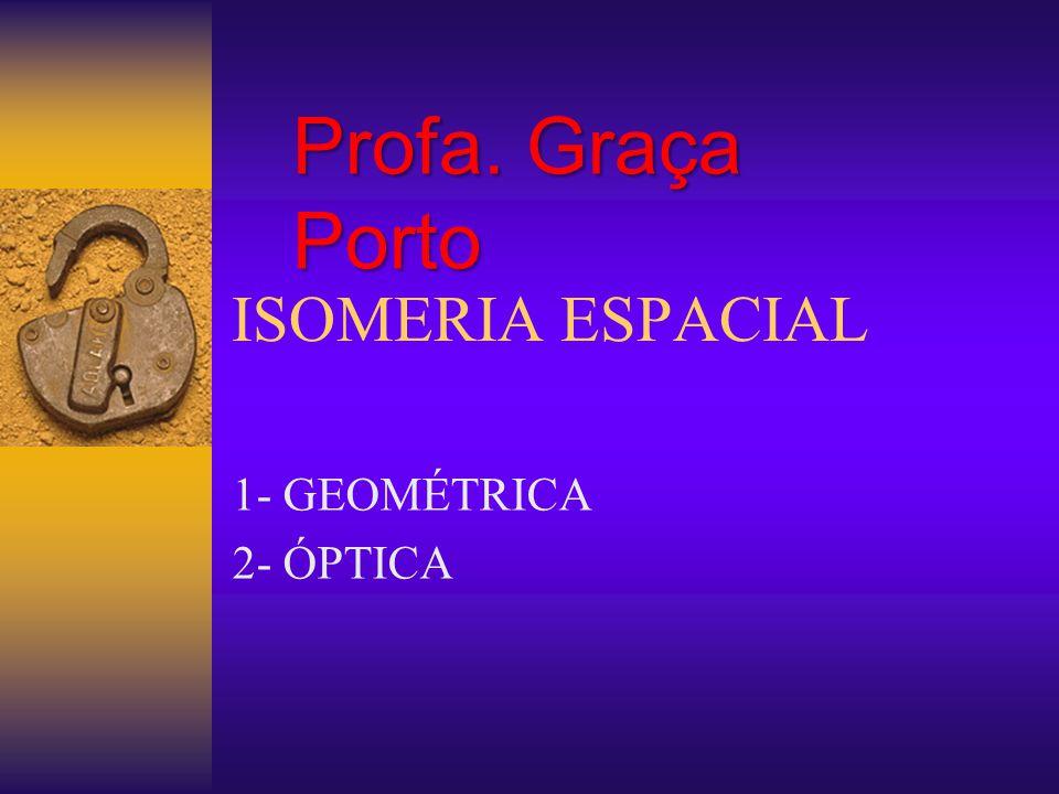 ISOMERIA ESPACIAL 1- GEOMÉTRICA 2- ÓPTICA Profa. Graça Porto